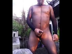 Cumming in  Body Stocking Outside