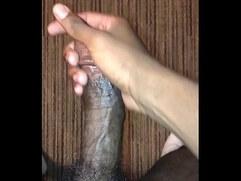 Stroking big black dick