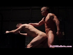 Muscular bottom is cock riding top