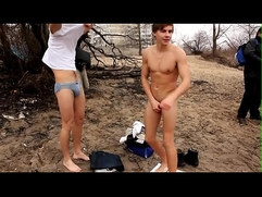 Russian skinny dipping in icy water