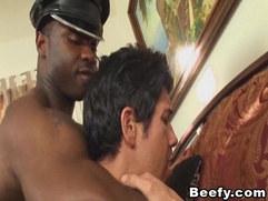 Beefy Black Anal Fucks White Gay