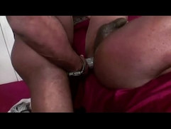 Black guy rides thick cock and loves it