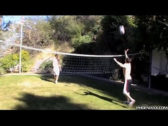 Young married men fucking after outdoor volleyball
