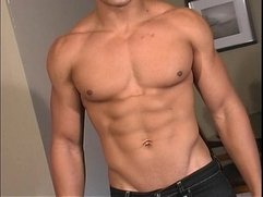 Hot bi latin men shows off his hot masculine rock body and his uncut cock