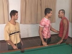Hot gay threesome on the pool table