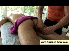 Gay masseur massages a boys sexy butt