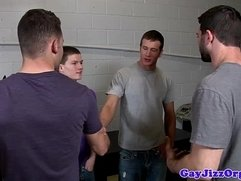 Groupsex muscle hunks doused in cum