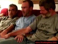 Three straight redneck mature touch cock