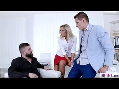 Bisex threesome in the office