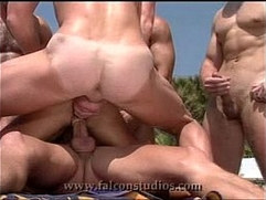 gay porn falcon - out of athens - gay porn muscle gang bang double penetration